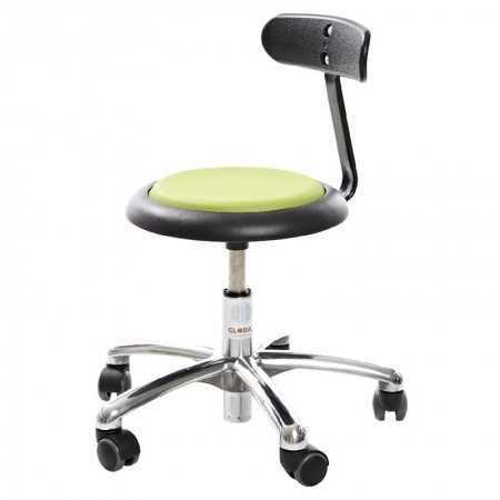 Tabouret-Micro-assise-noire-dossier-pied-alu-avec-roulettes